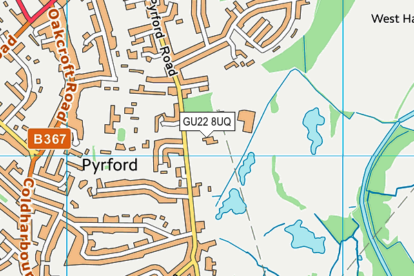 Byfleet Lawn Tennis Club map (GU22 8UQ) - OS VectorMap District (Ordnance Survey)