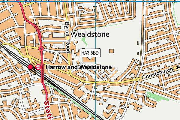 Harrow Leisure Centre map (HA3 5BD) - OS VectorMap District (Ordnance Survey)