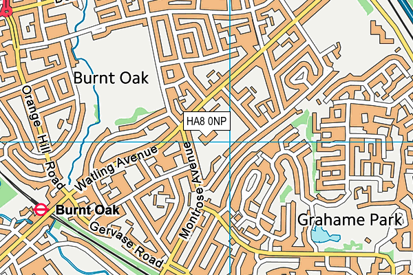 Barnet Burnt Oak Leisure Centre map (HA8 0NP) - OS VectorMap District (Ordnance Survey)