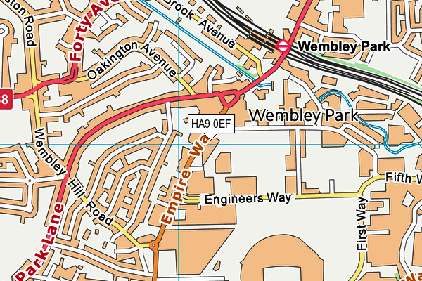 Wembley Leisure Centre map (HA9 0EF) - OS VectorMap District (Ordnance Survey)