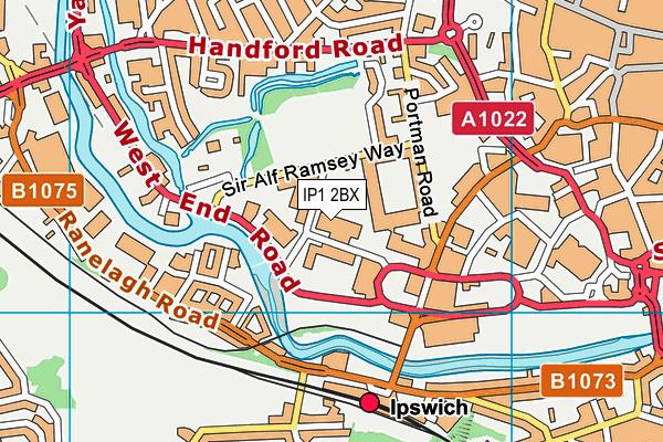 Better Gym Ipswich map (IP1 2BX) - OS VectorMap District (Ordnance Survey)