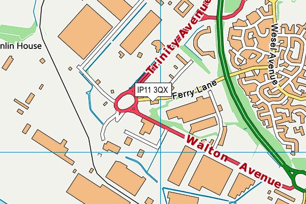 IP11 3QX map - OS VectorMap District (Ordnance Survey)