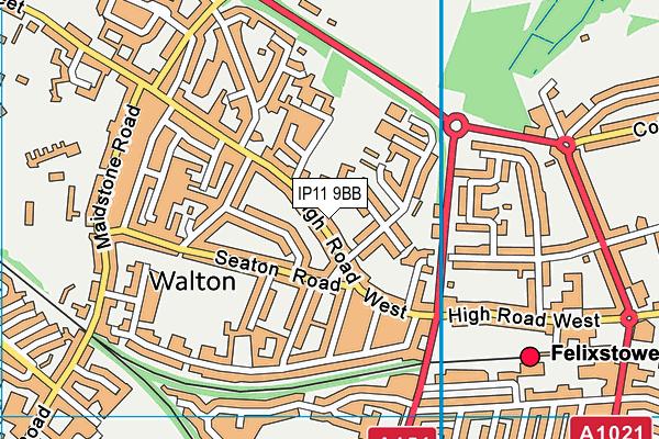 IP11 9BB map - OS VectorMap District (Ordnance Survey)