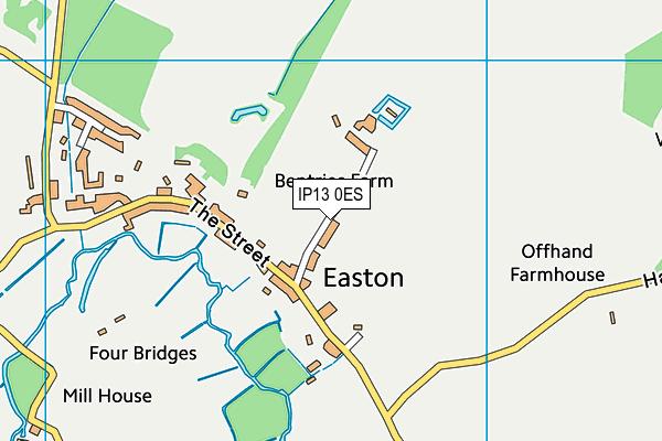 Easton Cricket Club map (IP13 0ES) - OS VectorMap District (Ordnance Survey)