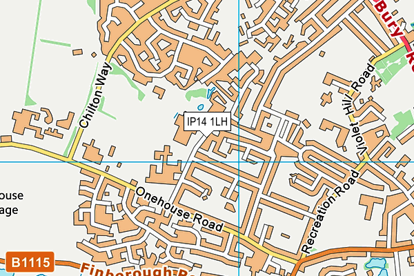Mid Suffolk Leisure Centre map (IP14 1LH) - OS VectorMap District (Ordnance Survey)