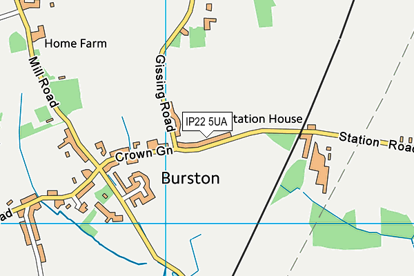 Burston Playing Field map (IP22 5UA) - OS VectorMap District (Ordnance Survey)