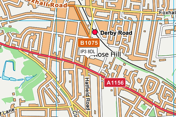 Rose Hill Primary map (IP3 8DL) - OS VectorMap District (Ordnance Survey)