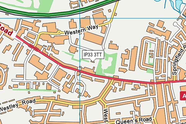 Bury St Edmunds Leisure Centre map (IP33 3TT) - OS VectorMap District (Ordnance Survey)