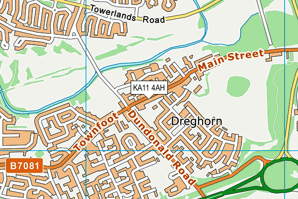 KA11 4AH map - OS VectorMap District (Ordnance Survey)