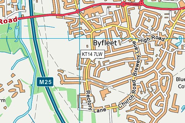 Byfleet Recreation Ground map (KT14 7LW) - OS VectorMap District (Ordnance Survey)