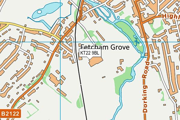 Leatherhead Leisure Centre map (KT22 9BL) - OS VectorMap District (Ordnance Survey)
