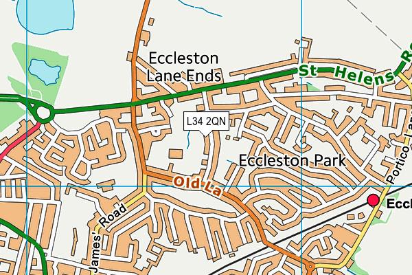 Eccleston Lane Ends Primary School map (L34 2QN) - OS VectorMap District (Ordnance Survey)