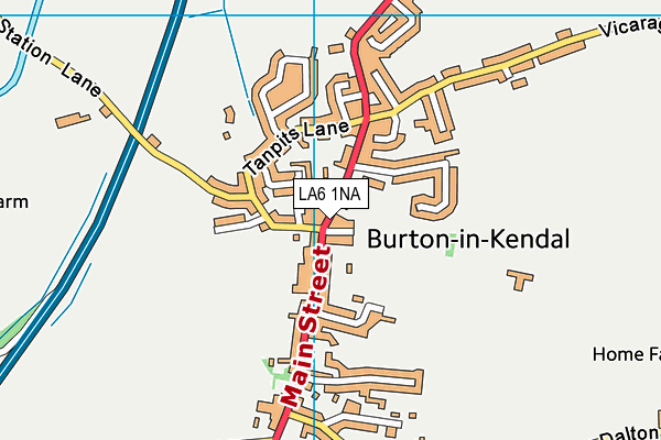 Burton Memorial Hall map (LA6 1NA) - OS VectorMap District (Ordnance Survey)