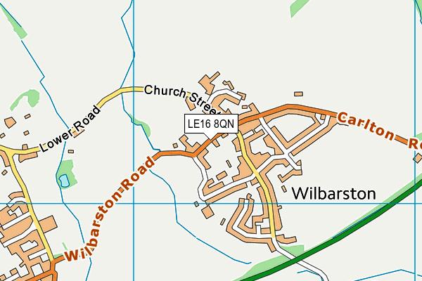 LE16 8QN map - OS VectorMap District (Ordnance Survey)