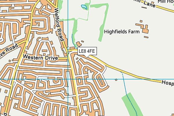 Oakfield School map (LE8 4FE) - OS VectorMap District (Ordnance Survey)