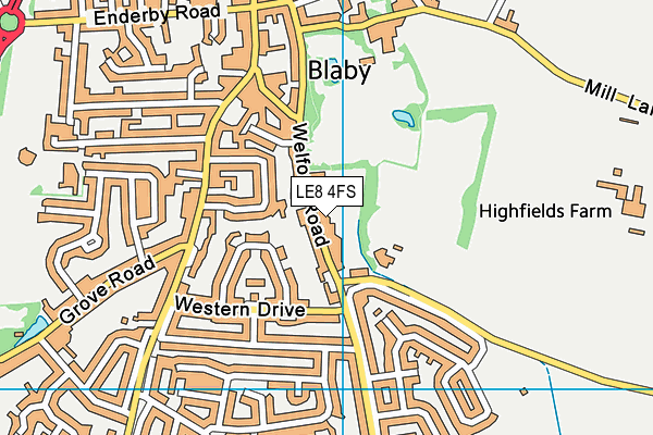 Eden Ladies Health & Fitness (Closed) map (LE8 4FS) - OS VectorMap District (Ordnance Survey)