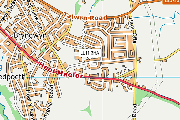 Penygelli Primary map (LL11 3HA) - OS VectorMap District (Ordnance Survey)