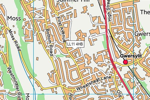 Ysgol Bryn Alyn map (LL11 4HB) - OS VectorMap District (Ordnance Survey)