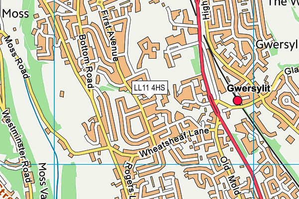 Ysgol Heulfan map (LL11 4HS) - OS VectorMap District (Ordnance Survey)