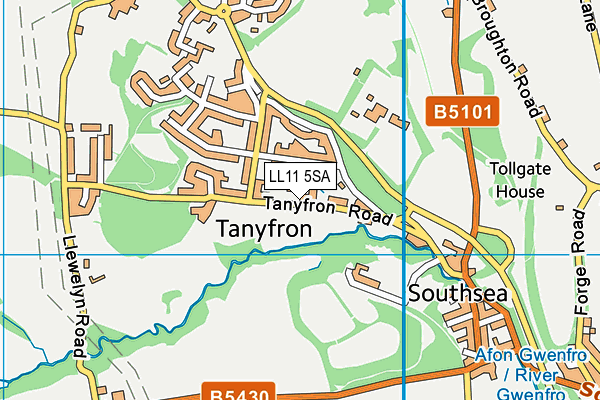 Tanyfron C.P. School map (LL11 5SA) - OS VectorMap District (Ordnance Survey)