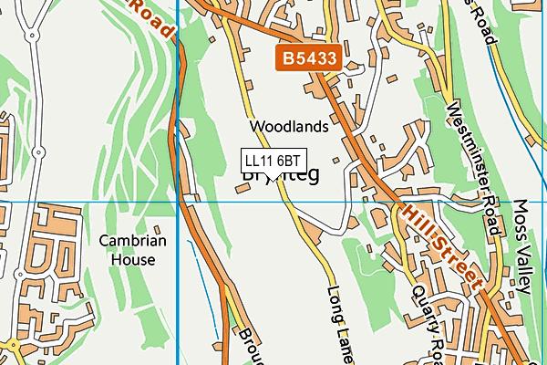 Black Lane C.P. School map (LL11 6BT) - OS VectorMap District (Ordnance Survey)
