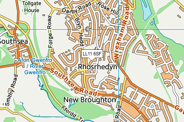 Ysgol Penrhyn New Broughton Primary map (LL11 6SF) - OS VectorMap District (Ordnance Survey)