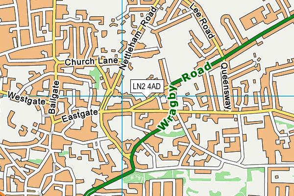 Eastgate Tennis Bowls And Squash Club map (LN2 4AD) - OS VectorMap District (Ordnance Survey)