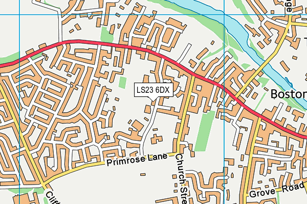 Primrose Lane Primary School map (LS23 6DX) - OS VectorMap District (Ordnance Survey)