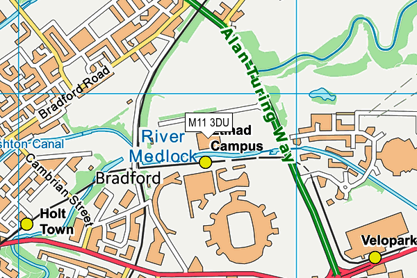 Manchester Tennis and Football Centre map (M11 3DU) - OS VectorMap District (Ordnance Survey)