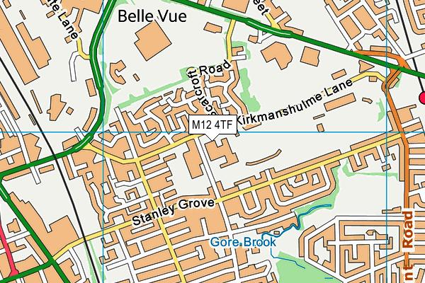 Belle Vue Sports Village map (M12 4TF) - OS VectorMap District (Ordnance Survey)