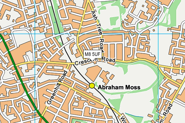 Abraham Moss Leisure Centre map (M8 5UF) - OS VectorMap District (Ordnance Survey)