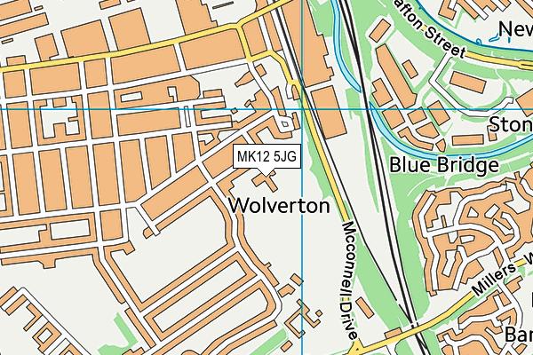 Bushfield School map (MK12 5JG) - OS VectorMap District (Ordnance Survey)