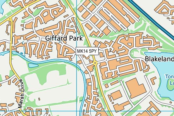 Giffard Park Primary School map (MK14 5PY) - OS VectorMap District (Ordnance Survey)