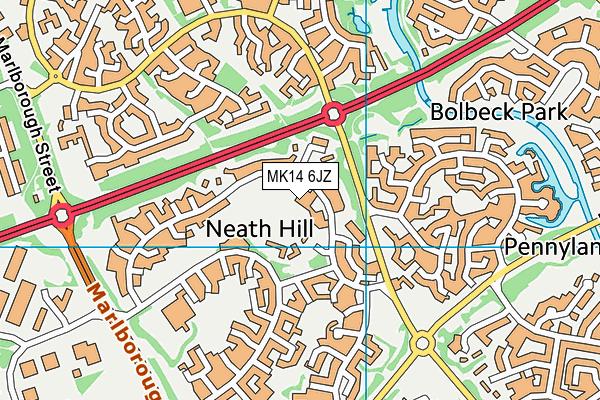 Brooksward School map (MK14 6JZ) - OS VectorMap District (Ordnance Survey)
