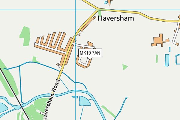 Haversham Village School map (MK19 7AN) - OS VectorMap District (Ordnance Survey)