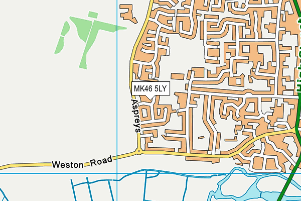 MK46 5LY map - OS VectorMap District (Ordnance Survey)