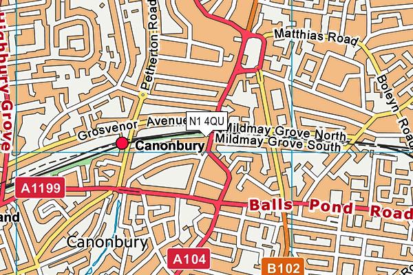 N1 4QU map - OS VectorMap District (Ordnance Survey)