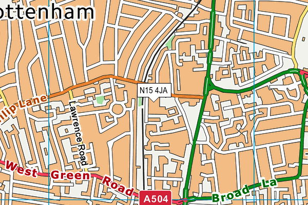 Tottenham Green Pools & Fitness map (N15 4JA) - OS VectorMap District (Ordnance Survey)