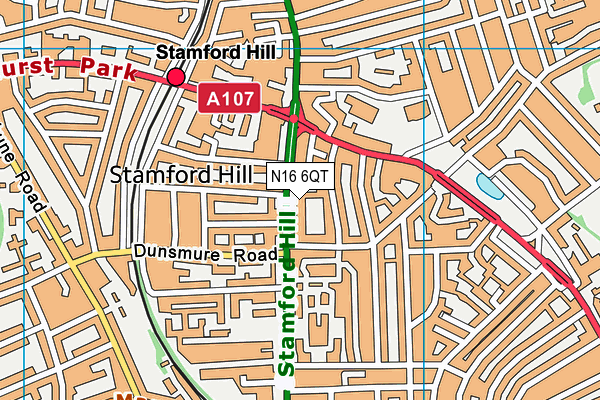 Wiznitz Cheder School map (N16 6QT) - OS VectorMap District (Ordnance Survey)
