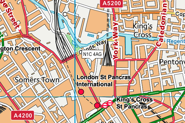 Pancras Square Leisure map (N1C 4AG) - OS VectorMap District (Ordnance Survey)