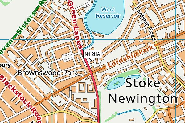 West Reservoir Centre map (N4 2HA) - OS VectorMap District (Ordnance Survey)