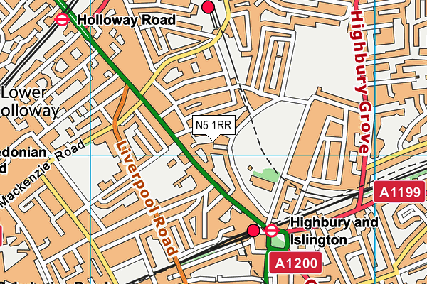 Highbury Leisure Centre map (N5 1RR) - OS VectorMap District (Ordnance Survey)