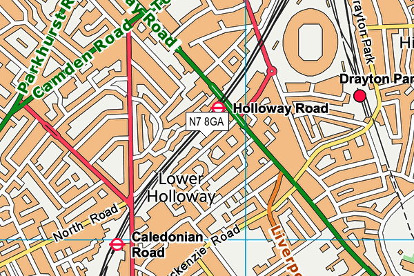 Better Gym Holloway map (N7 8GA) - OS VectorMap District (Ordnance Survey)
