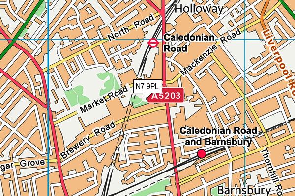 Islington Tennis Centre and Gym map (N7 9PL) - OS VectorMap District (Ordnance Survey)