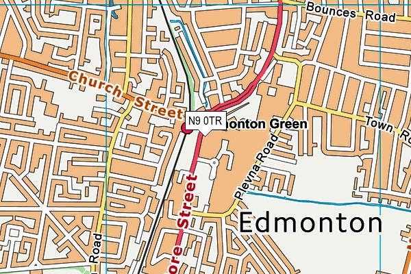 Edmonton Leisure Centre map (N9 0TR) - OS VectorMap District (Ordnance Survey)