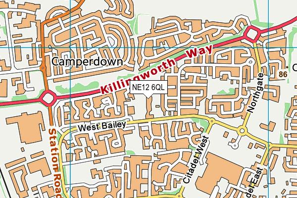 Bailey Green Primary School map (NE12 6QL) - OS VectorMap District (Ordnance Survey)