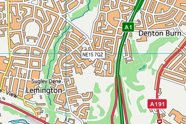NE15 7QZ map - OS VectorMap District (Ordnance Survey)