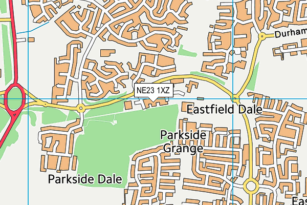 Burnside Primary School map (NE23 1XZ) - OS VectorMap District (Ordnance Survey)