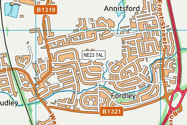 Fordley Primary School map (NE23 7AL) - OS VectorMap District (Ordnance Survey)