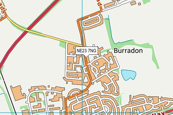 Burradon Community Primary School map (NE23 7NG) - OS VectorMap District (Ordnance Survey)